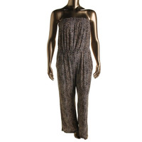 NY Collection Womens Matte Jersey Animal Print Jumpsuit
