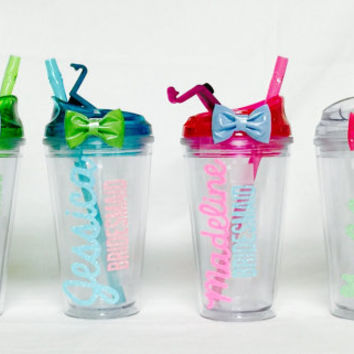 Customizable 16 oz BPA Free Flip lid Cup / Tumbler w / straw. Cruise / Camp / Beach / Pool / Bridesmaids / Wedding Parties gifts.