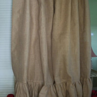 Ruffled Burlap Curtain Panel - In Natural Tan