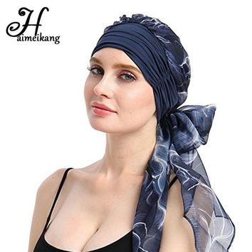 5a917e488330 Haimeikang 2018 New Women Chemo Cap Turban Long Hair Band Scarf