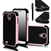 E LV Armor Defender Protective Case for Samsung Galaxy S4 Bundle with Screen Protector, Black Stylus and Microfiber Sticker Digital Cleaner - Baby Pink