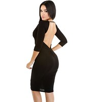 Open Low Back Bodycon Midi Dress