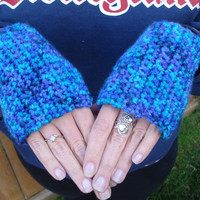Women's crochet soft Blue and Purple fingerless gloves - women's gloves - christmas - holiday - gifts for her - teen gifts - women's gifts