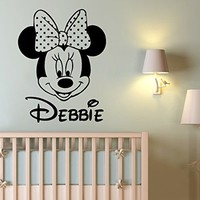 Wall Decal Name Personalized Custom Decals Minnie Mouse Vinyl Sticker Home Decor Nursery Girl Baby Room Kids Stickers Children's Decor Art Mural SM75