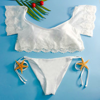 White Off-The-Shoulder Short Sleeve Lace Bikini Set