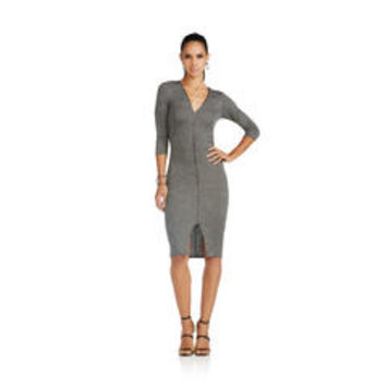 Rib Knit Zip Front Midi Dress - Sears
