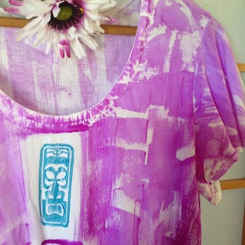 Hawaiian Top - Plus Size Tunic - Tunic - Hawaiian Shirt Woman - Maternity Top - Hand Painted Tunic - Summer Top - Cotton Tunic - Kauai