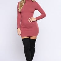 Calling All My Lovelies Dress - Red Brown