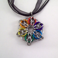 rainbow Celtic star pendant on ribbon by Eternalelfcreations