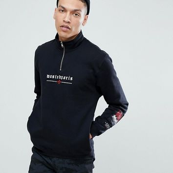 Wasted Paris 1/4 Zip Sweat With Chest Logo In Black at asos.com