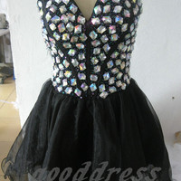 2013 sexy black sweetheart any crystal beaded piping circle beautiful short dress homecoming cocktail prom gown dress party dresses