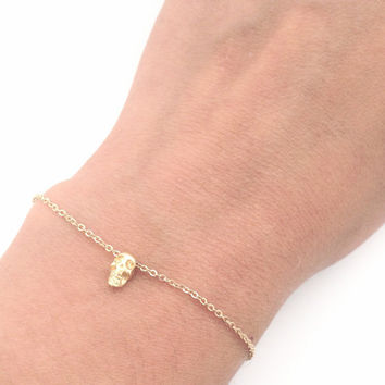 Tiny Skull Bracelet - Dainty everyday jewelry