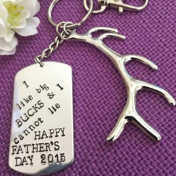 Father's Day Gift - Dad Keychain - Outdoors Dad - I like big Bucks - Keychain for Dad - Deer antler Keychain - Custom keychain