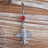 Belly Button Ring - Body Jewelry -Rhinestone Airplane with Red Gem Stone Belly Button Ring