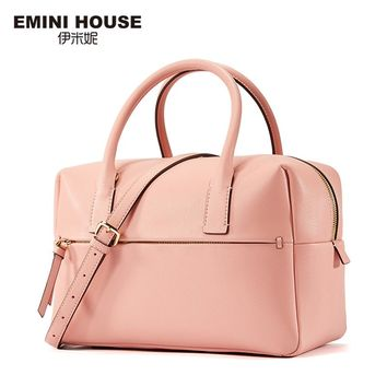 EMINI HOUSE Fashion Boston Bag Split Leather Women Handbag Trunk Women Messager Bags High Capacity Shoulder Bags for Women