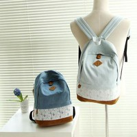 Sweet Harajuku shoulder bag Denim fabric lace backpack canvas free shipping from becomfortable