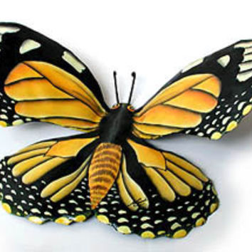 "Monarch Butterfly Metal Wall Decor- 15""- Hand Painted Recycled Steel Drum Art  -BU-517-M"