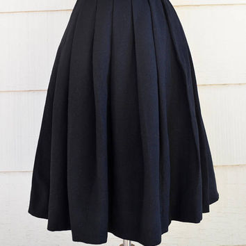 Vintage Lanz Skirt, Black Wool Pleated Skirt, Never Worn, Junior Size 9, 1960s