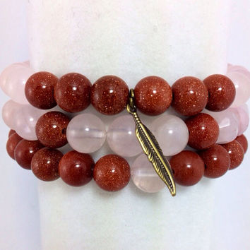 Lucky Feather Bracelet Stack, Yoga Stack, Yoga Bracelet, Gemstone Stack: Rose Quartz & Brown Goldstone w/ Antique Brass Lucky Feather Charm