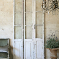 Vintage Set of 3 Doors in Chippy Cream and White - $1195 - The Bella Cottage