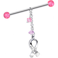 Hope Ribbon Dangle Industrial Barbell Created with Swarovski Crystals | Body Candy Body Jewelry