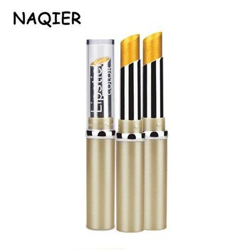 ESBONJ NEW NAQIER Metallic Pearlescent Non Fading Lip Color gilt lips Long Lasting Lipstick Gold Lipstick Metal Color Lip Makeup