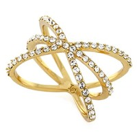 Women's Louise et Cie Micro Pave Starburst Ring - Gold/ Crystal