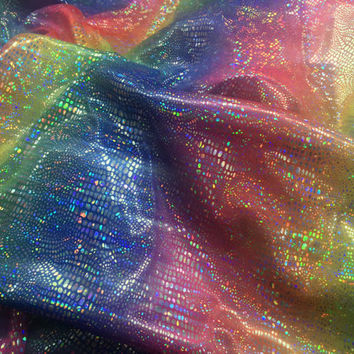 Rainbow jersey fabric hologram Snake foil Lycra spandex fabric metallic shiny stretch stage wear, dance wear pantomime costumes dress fabric
