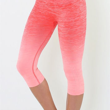 Yoga Capri Pants - Coral and Pink