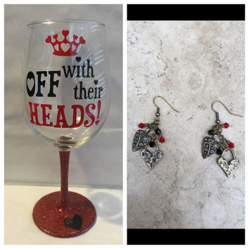Gift Bundle Queen of Hearts inspired by Alice in Wonderland Wine Glass and Earrings