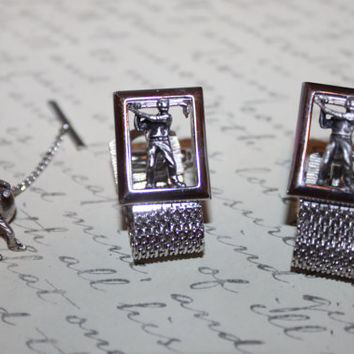 Vintage Swank Golf Cuff Links & Tie Tack by ThePickerGirl on Etsy