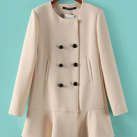 Beige Long Sleeve Double Button Ruffled Woolen Coat