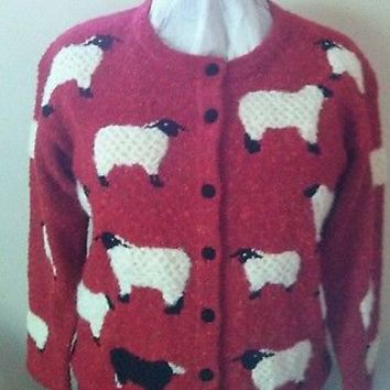 Design Options Philip and Jane Gordon Black Sheep Sweater size S Red