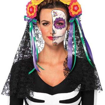 MDIGH3W Day of the Dead flower headband with lace veil in MULTICOLOR