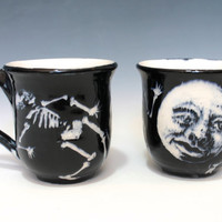 Skeleton Mugs, Dia de Muerta, Halloween cups, Black and White, Moon and Skeleton