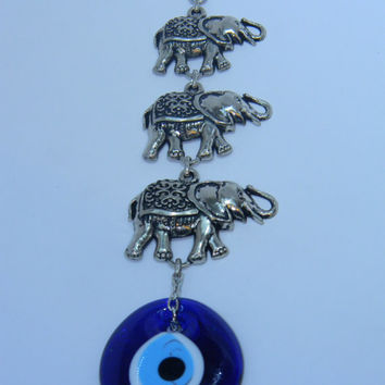 Made in Turkey Silver Plated Wall Hanging 3 Elephants, Turkish and Greek Nazar Bead, Lucky evil eye, blue bead