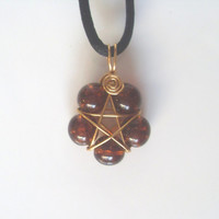 Handmade Deep Brown Crackle Glass Pentacle Star Flower Gold Plated Wire Wrap Pendant On Blue Cord