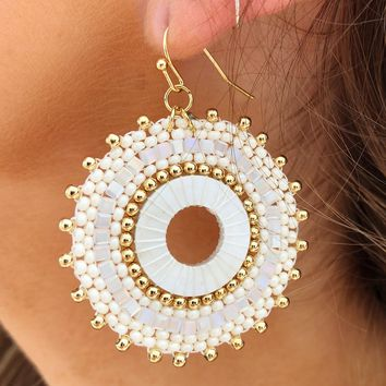 Take It Away Earrings: Ivory/Gold