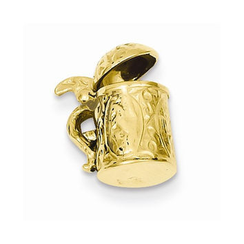 Solid 14k Yellow Gold 3-D Beer Stein Pendant