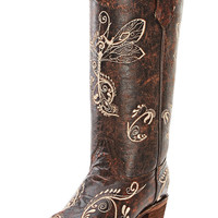 Corral Women's Circle G Brand Dragonfly Brown Cowgirl Boots