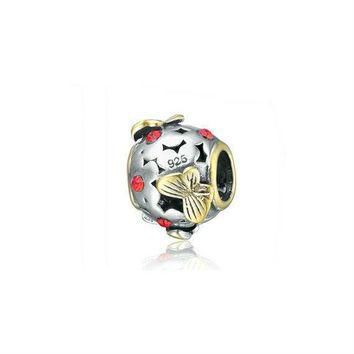 authentic silver charm beads golden butterfly charm fits european and pandora bracelet