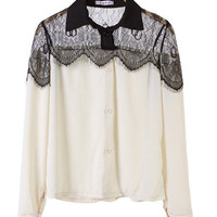 @Free Shipping@ Korean Style Ladies Sexy Long Sleeve Black Lace and Chiffon Multi-Colored Blouse One Size RQ7151H175mu from Voguegirlgo