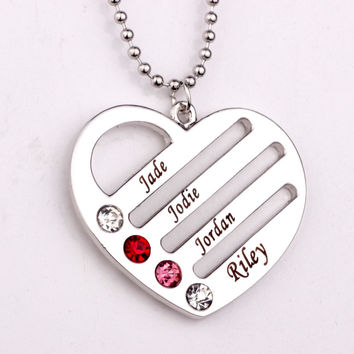 Heart Necklace with Names/Birthstones - up to 4