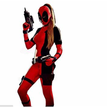 Deadpool Dead pool Taco Lady  Costume Halloween Costume For Adult  Party Cosplay Men/Women Full Body Zentai Jumpsuit Tight Suit AT_70_6