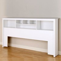 King Size Stylish Bookcase Headboard in White Wood Finish