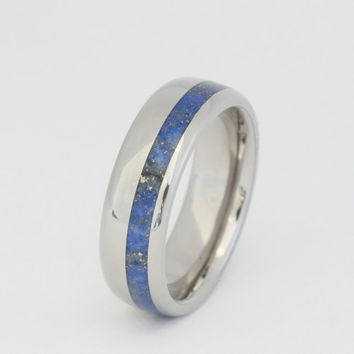 Lapis Ring Lapis Lazuli offset on a Titanium Ring Engraving is available