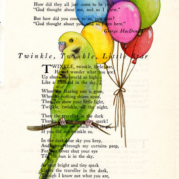 Book Page Art of Party Parakeet with Rainbow Colored Balloons Poem Page Art Antique Book Upcycled Art Print Party Parakeet Print cp346