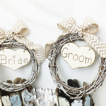 Bride And Groom Wedding Signs With Chevron Burlap Bows Shabby Chic White Wreaths - Rustic Wedding Burlap Wedding Decor