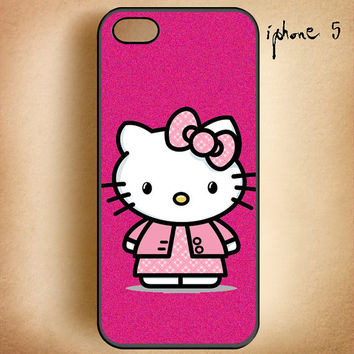 Pink Hello Kitty Fashion-Design On Hard Plastic Cover Case, IPhone 4,4S or IPhone 5 Case, Samsung Galaxy S2,S3 or S4 Case