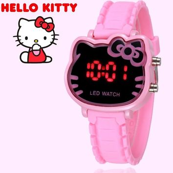 Relogio Feminino Women Watches Hello kitty Led Digital Watch Children Girls Cartoon Silicone Wrist Watch reloj mujer saat Montre